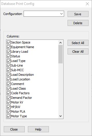 Figure 5: Database Print Config Dialog Box