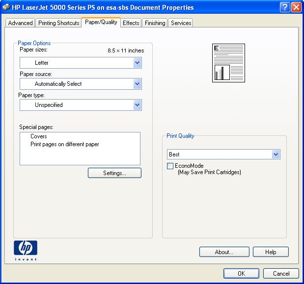 Print dialog box - Properties button